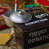 Close-up of donation box in temple, Krong Siem Reap, Siem Reap, Cambodia
