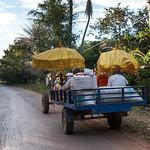 People sitting in trailer on road, Preah Dak, Siem Reap, Cambodia