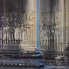 Statues carved on wall of temple, Krong Siem Reap, Siem Reap, Cambodia