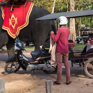 Rear view of man standing near auto rickshaw, Krong Siem Reap, Siem Reap, Cambodia
