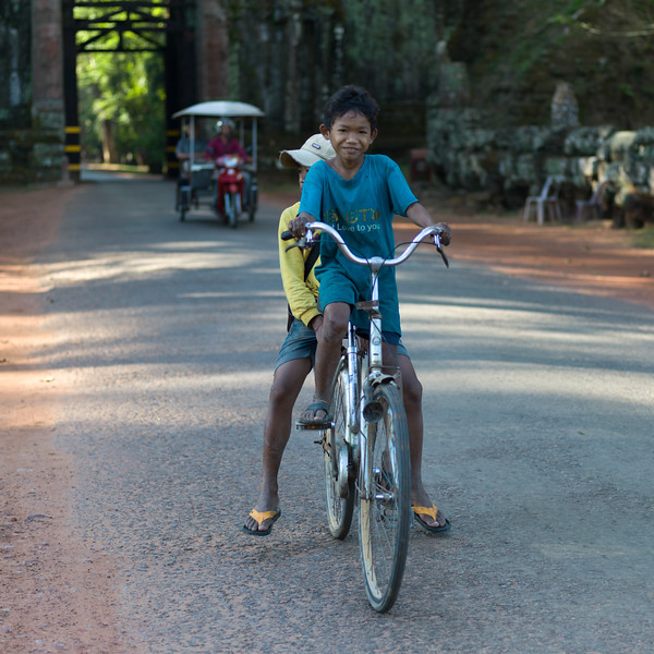 Two boys on bicycle, Krong Siem Reap, Siem Reap, Cambodia