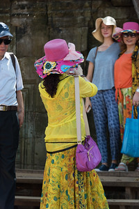 Tourists at temple, Krong Siem Reap, Siem Reap, Cambodia