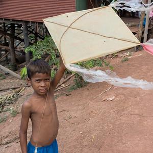 Portrait of boy holding kite, Siem Reap, Cambodia