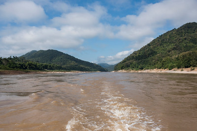 View of wake of water in the River Mekong, Laos