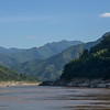 Scenic view of river with mountain range in background, River Mekong, Sainyabuli Province, Laos