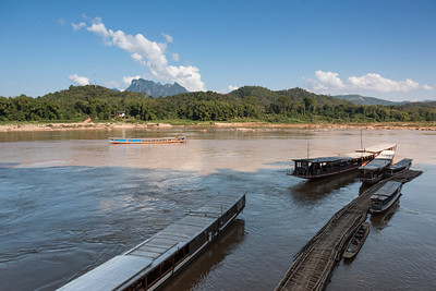 Boats in River Mekong, Luang Prabang, Laos