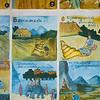 Close-up of wall mural paintings, Pakbeng, Sainyabuli Province, Laos
