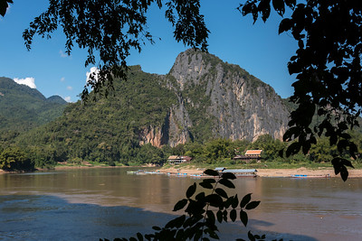 River with rocky mountains in background, River Mekong, Pak Ou District, Luang Prabang, Laos