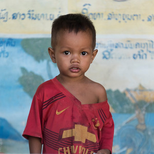 Portrait of boy toddler posing for camera, Sainyabuli Province, Laos