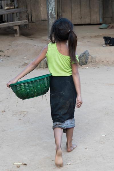 Rear view of girl carrying basket, Ban Gnoyhai, Luang Prabang, Laos