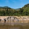 Rocky shoreline of River Mekong, Laos