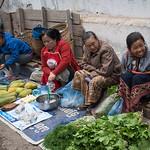 Street vendors selling vegetables, Luang Prabang, Laos