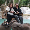 Couple riding on elephant, Luang Prabang, Laos