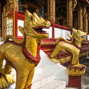 Statues outside temple, Luang Prabang, Laos