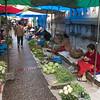 Vegetable market on street, Luang Prabang, Laos
