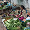 Woman selling vegetables at street market, Luang Prabang, Laos