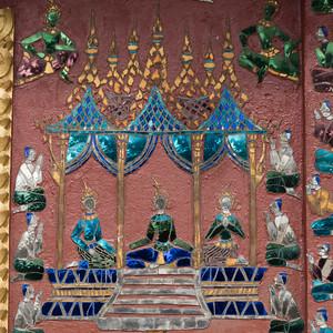 Mural on the wall of Buddhist temple, Wat Xieng Thong, Luang Prabang, Laos