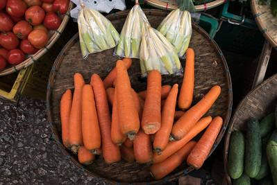 Basket of Vegetables for sale at market, Luang Prabang, Laos