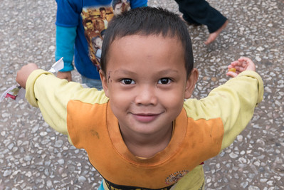 Portrait of boy playing, Luang Prabang, Laos