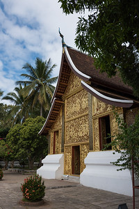 Carved Facade of Buddhist temple, Wat Xieng Thong temple, Luang Prabang, Laos