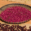 Close-up of red beans and spices drying in sunlight, Chiang Rai, Thailand