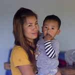 Portrait of woman with her son, Chiang Rai, Thailand