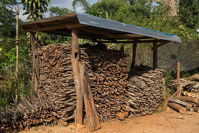 Heap of firewood in shed, Chiang Rai, Thailand
