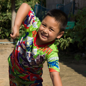 Close-up of boy in playful mood, Chiang Rai, Thailand