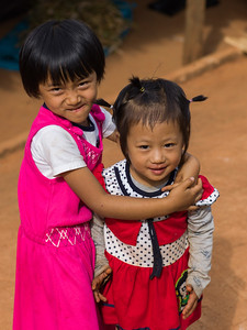 Two girls playing, Chiang Rai, Thailand