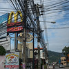 Low angle view of electric cables on pole, Koh Samui, Surat Thani Province, Thailand