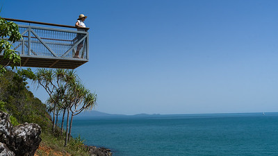 Woman standing on platform, Port Douglas, Queensland, Australia