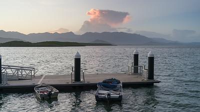 Boats moored at dock, Port Douglas, Queensland, Australia
