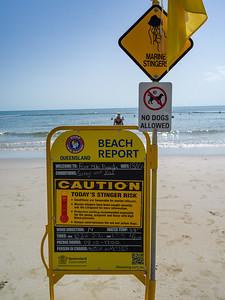 Warning sign on the beach, Four Mile Beach, Port Douglas, Far North Queensland, Queensland, Australia