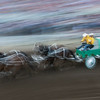 Blurred motion view of chuckwagons racing during Calgary Stampede, Calgary, Alberta, Canada