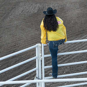 Rear view of a woman climbing railing, Calgary Stampede, Calgary, Alberta, Canada
