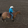 High angle view of cowboy riding horse, Calgary Stampede, Calgary, Alberta, Canada