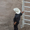 High angle view of a man standing near fence, Calgary Stampede, Calgary, Alberta, Canada