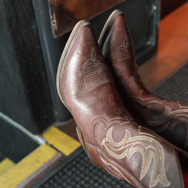 Close-up of pair of cowboy boots at Calgary Stampede, Calgary, Alberta, Canada