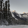 Snow covered roadway with mountain in winter, Yoho National Park, British Columbia, Canada