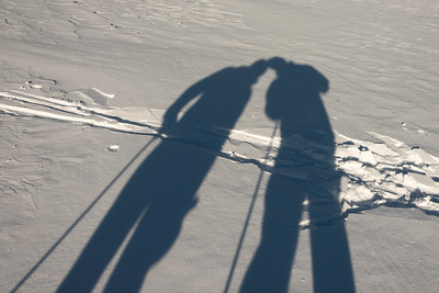Shadow of skiers in snow, Field, British Columbia, Canada