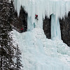 Ice climbers on frozen waterfall, Lake Louise, Banff National Park, Alberta, Canada