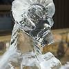 Close-up of ram goat ice sculpture, Lake Louise, Alberta, Canada