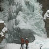 Ice climbers on frozen waterfall, Johnston Canyon, Banff National Park, Alberta, Canada