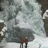 Ice climbers on frozen waterfall, Johnston Canyon, Banff National Park, Alberta, Canada