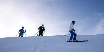 Tourists skiing, British Columbia, Canada