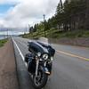 Motorcycle parked on roadside, Irish Cove, Cape Breton Island, Nova Scotia, Canada