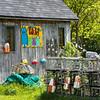 Crab pots stacked at fishing shed, Cabot Trail, Cape Breton Island, Nova Scotia, Canada