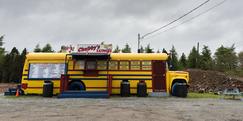 Food truck at roadside, St. Peter's, Cape Breton Island, Nova Scotia, Canada