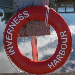 Close-up of a life preserver hanging at dock, Inverness Harbour, Inverness, Cape Breton Island, Nova Scotia, Canada