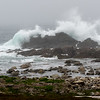 Water splashing on rocky coastline, Fortress of Louisbourg, Louisbourg, Cape Breton Island, Nova Scotia, Canada